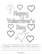 Happy Valentine's Day 2021 Handwriting Sheet