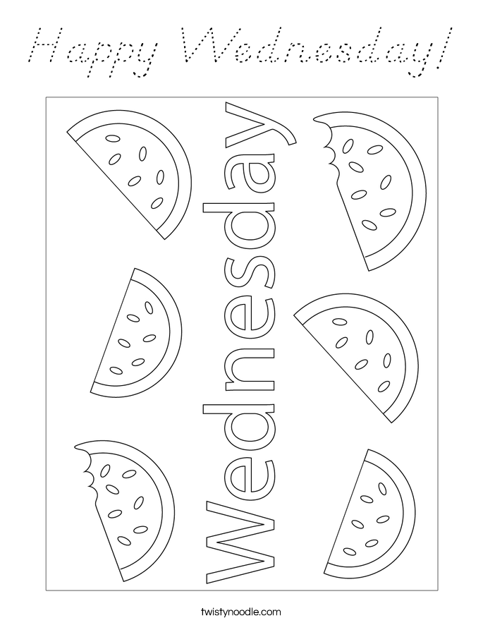 Happy Wednesday! Coloring Page
