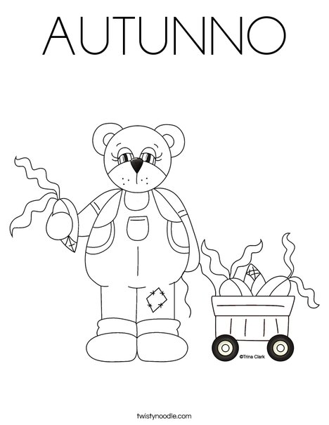 Harvest Bear Coloring Page