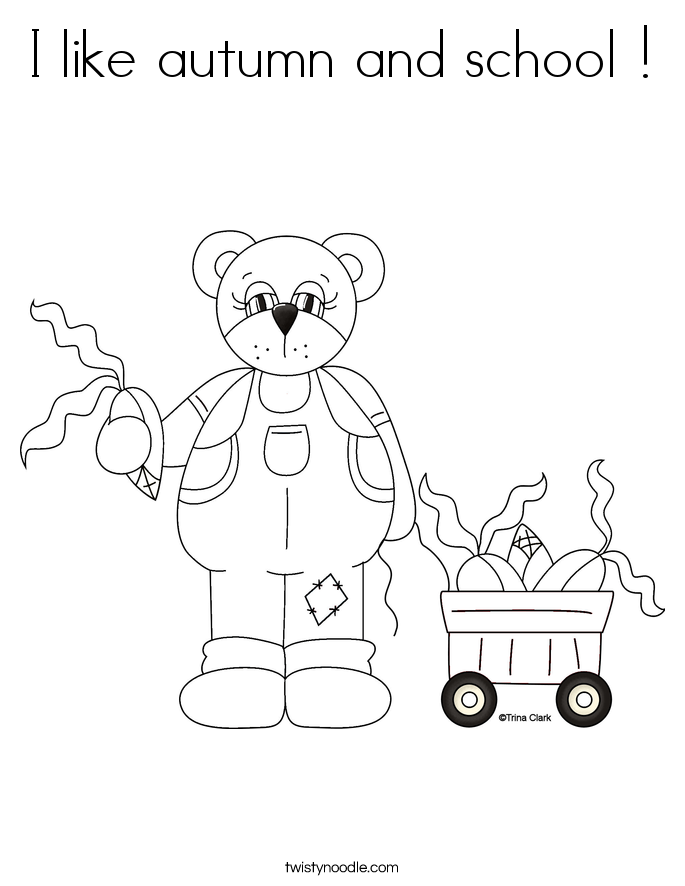 I like autumn and school ! Coloring Page