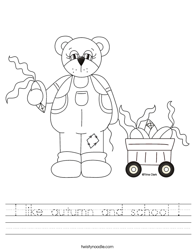 I like autumn and school ! Worksheet