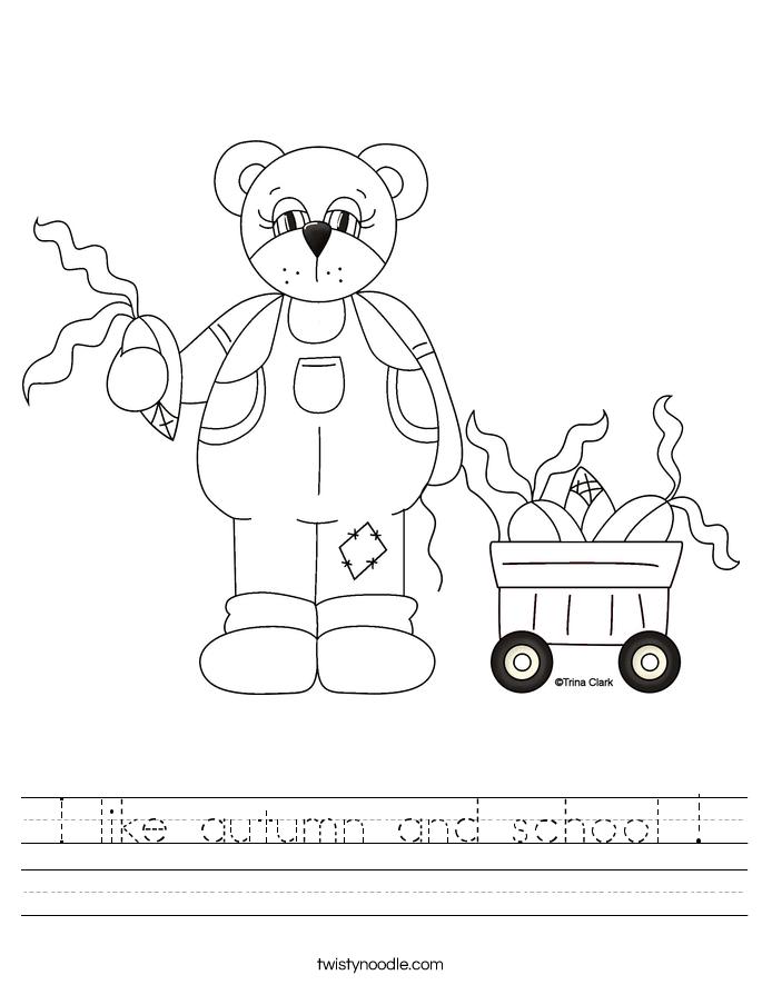 I like autumn and school ! Worksheet