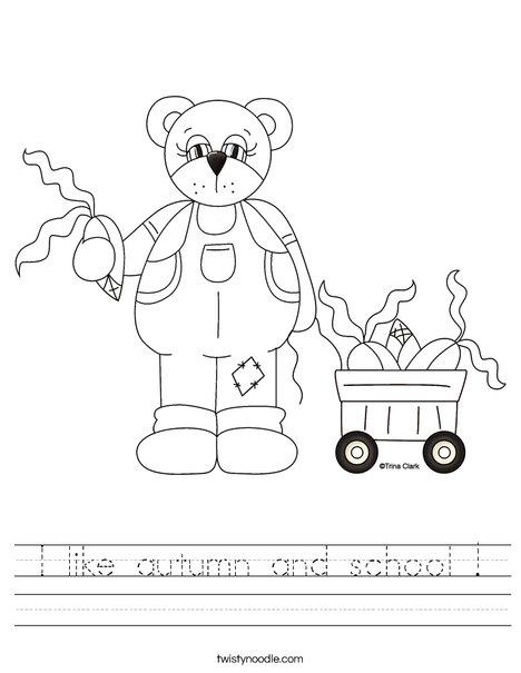 Harvest Bear Worksheet