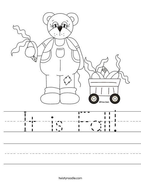 Harvest Bear Worksheet