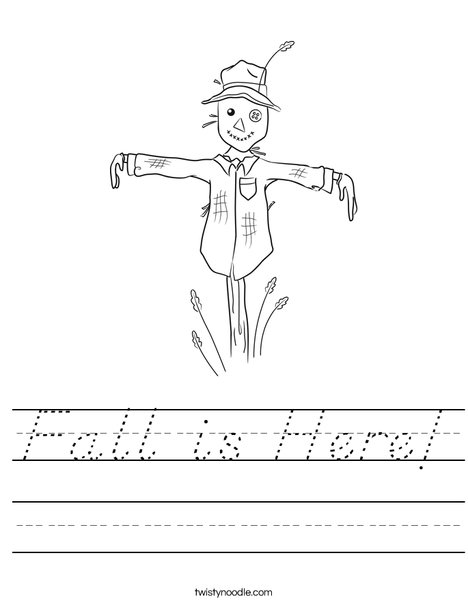 Harvest Hollow Scarecrow Worksheet