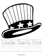 Uncle Sam's Hat Handwriting Sheet