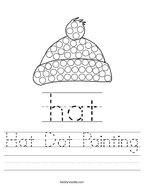 Hat Dot Painting Handwriting Sheet