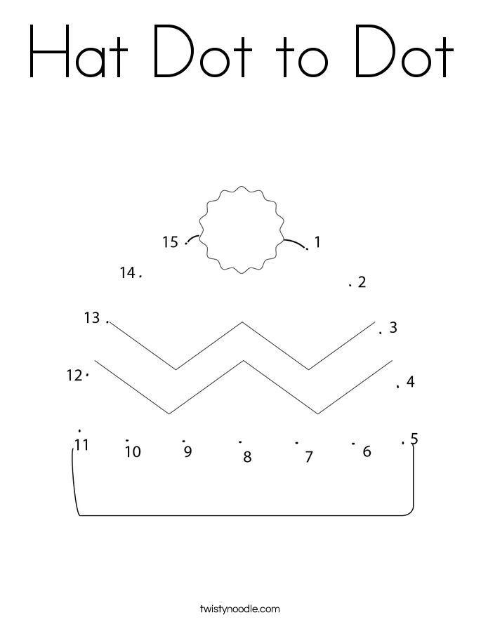 Hat Dot to Dot Coloring Page