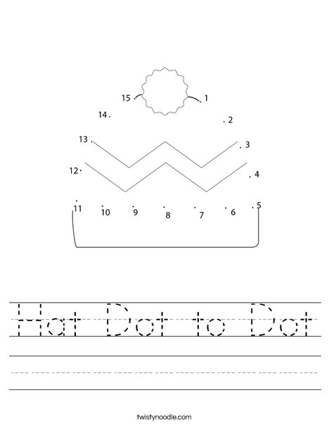 Hat Dot to Dot Worksheet