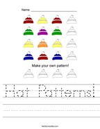 Hat Patterns Handwriting Sheet