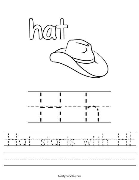 Hat starts with H! Worksheet