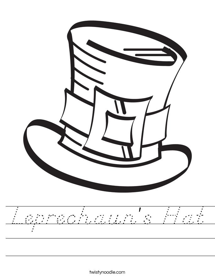 pilgrim hat worksheet along with Leprechauns Hat Worksheet DNealian ...