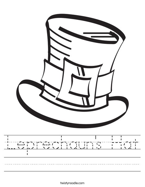 image relating to Leprechaun Hat Printable known as Leprechauns Hat Worksheet - Twisty Noodle