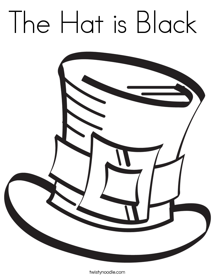The hat is black coloring page