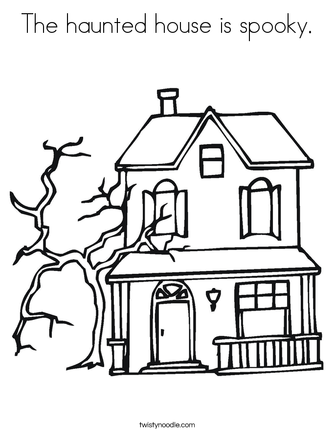 The haunted house is spooky. Coloring Page