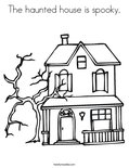 The haunted house is spooky.Coloring Page