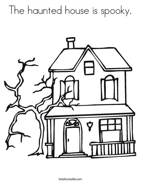 Coloring Castle Alphabet Pages : The haunted house is spooky coloring page twisty noodle