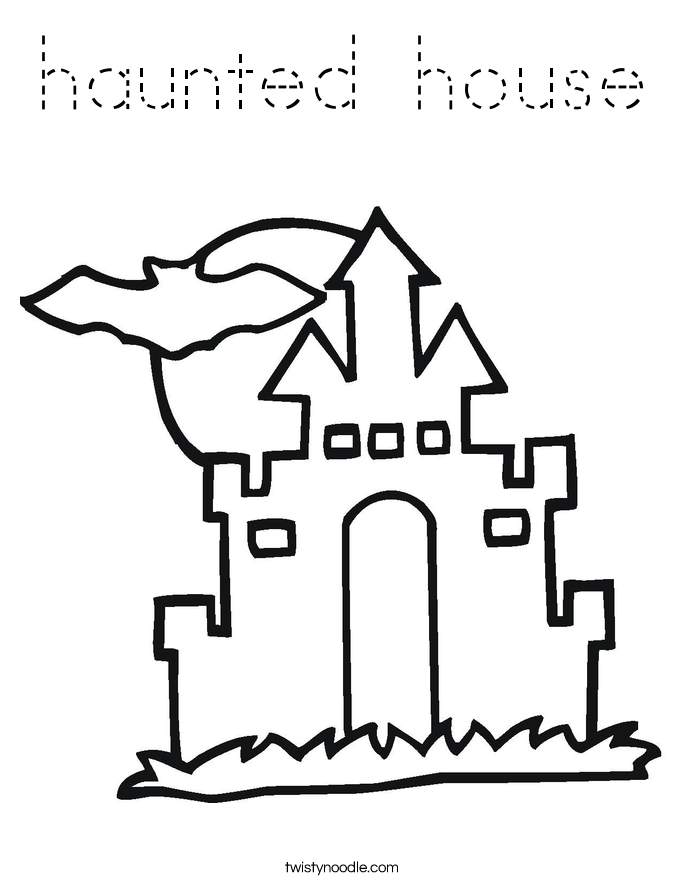 haunted house silhouettes coloring pages - photo#16