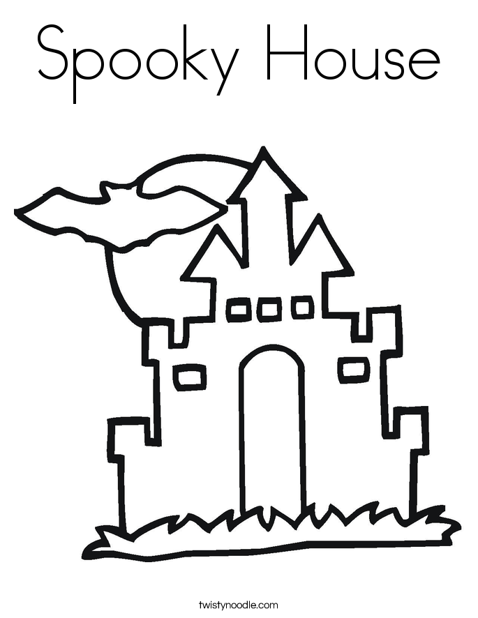 spooky house coloring page
