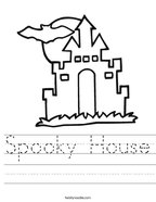 Spooky House Handwriting Sheet