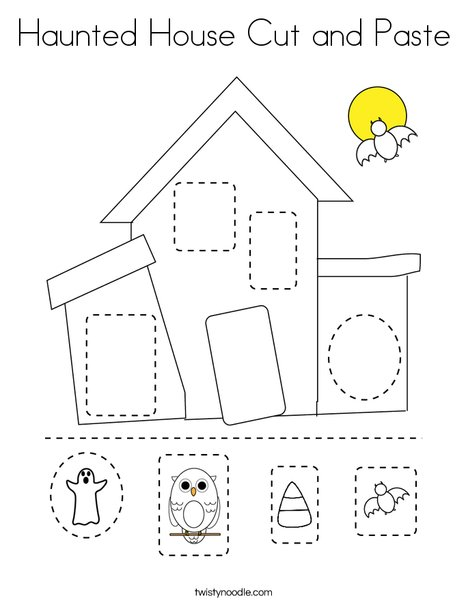 Haunted House Cut and Paste Coloring Page