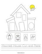 Haunted House Cut and Paste Handwriting Sheet