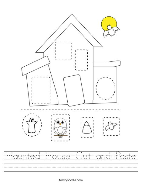 Haunted House Cut and Paste Worksheet