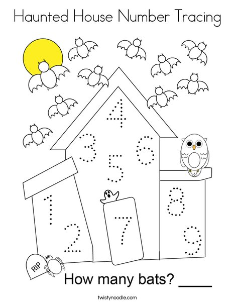 Haunted House Number Tracing Coloring Page