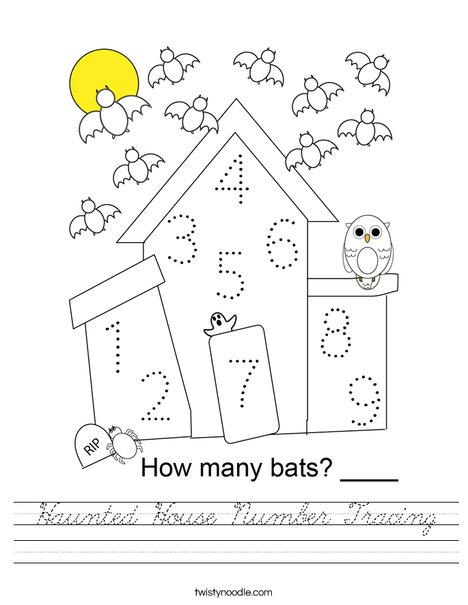Haunted House Number Tracing Worksheet