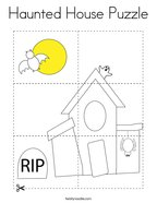 Haunted House Puzzle Coloring Page