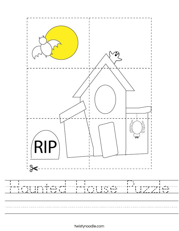 Haunted House Puzzle Worksheet