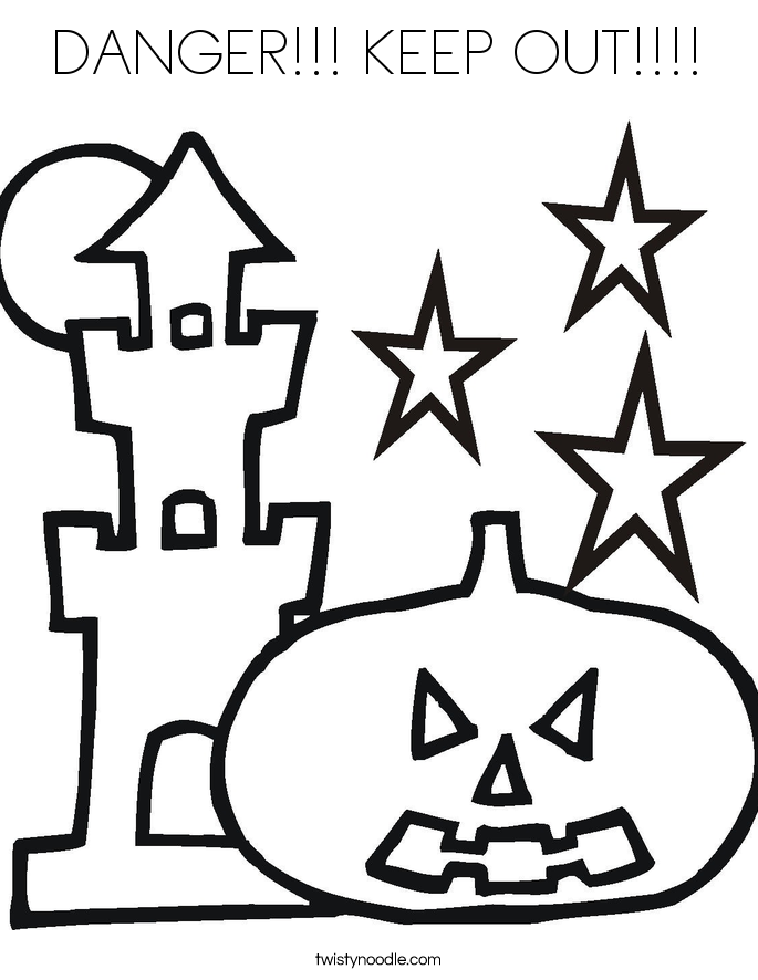 DANGER!!! KEEP OUT!!!! Coloring Page