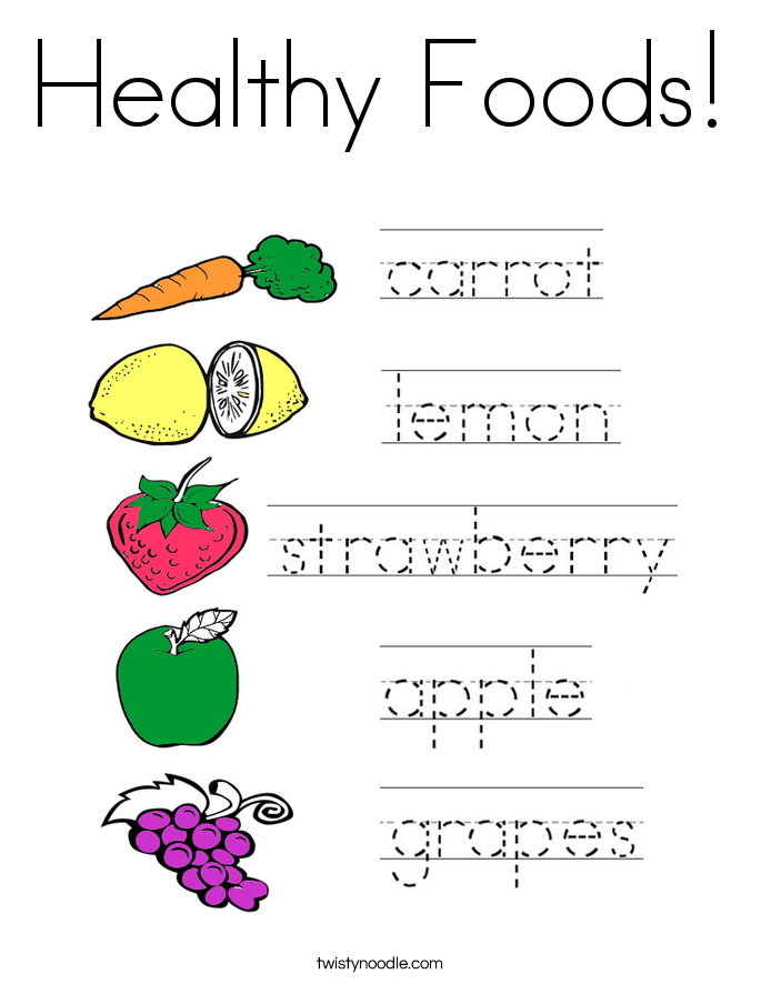 Healthy Foods Coloring Page - Twisty Noodle