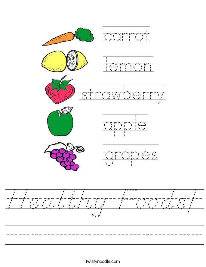 Healthy Foods! Worksheet