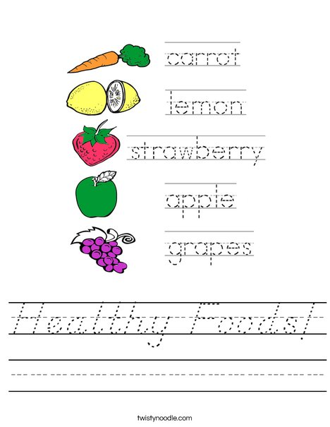 Healthy Foods Worksheet