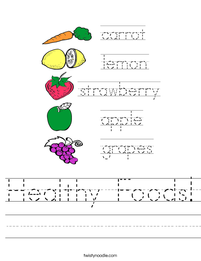Healthy Foods Worksheet Twisty Noodle – Healthy Food Worksheets