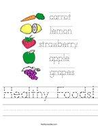 Healthy Foods Handwriting Sheet