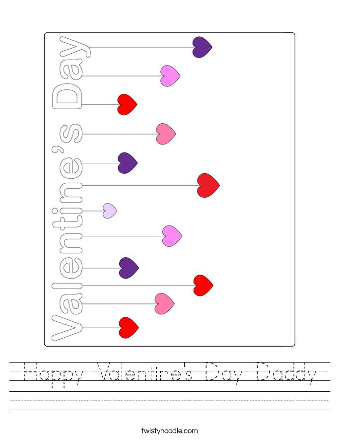 Happy Valentine's Day Daddy Worksheet