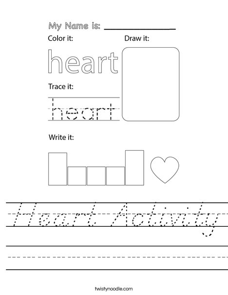 Heart Activity Worksheet