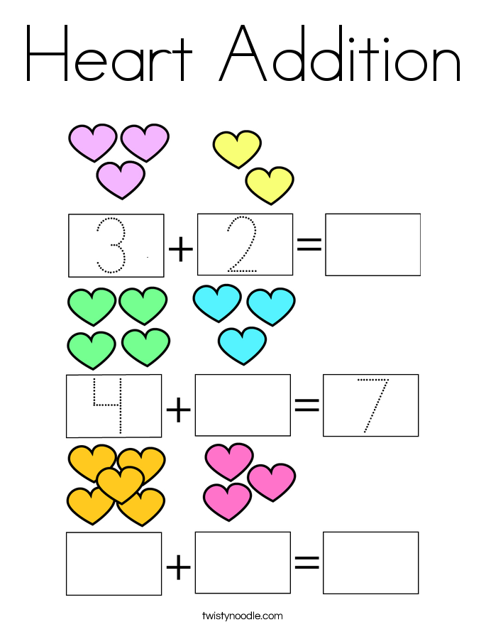 Heart Addition Coloring Page