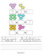 Heart Addition Handwriting Sheet