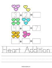 Heart Addition Handwriting Sheet