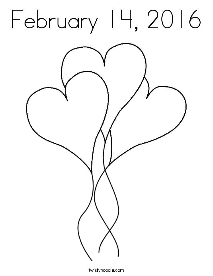 February 14, 2016 Coloring Page