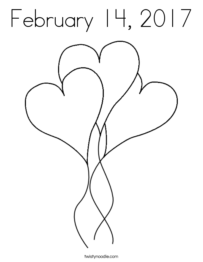 February 14, 2017 Coloring Page