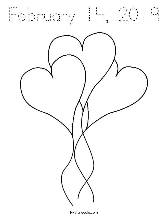 February 14, 2019 Coloring Page