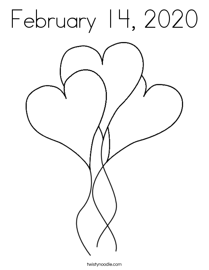February 14, 2020 Coloring Page