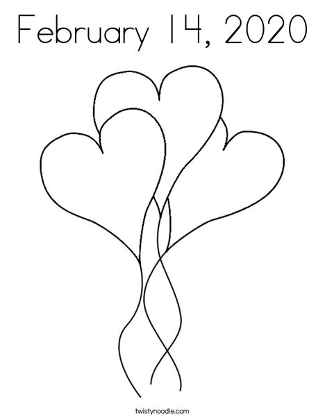 Heart Balloons Coloring Page