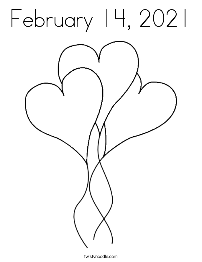 February 14, 2021 Coloring Page