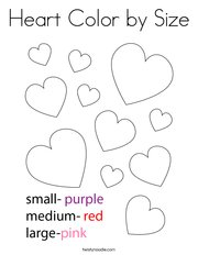Heart Color by Size Coloring Page