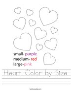 Heart Color by Size Handwriting Sheet